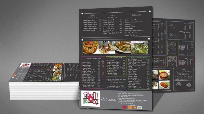 Menu Card Printing in Munirka Delhi NCR India.