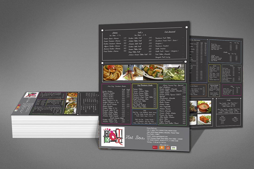 Menu Card Printing in Munirka Delhi NCR India.